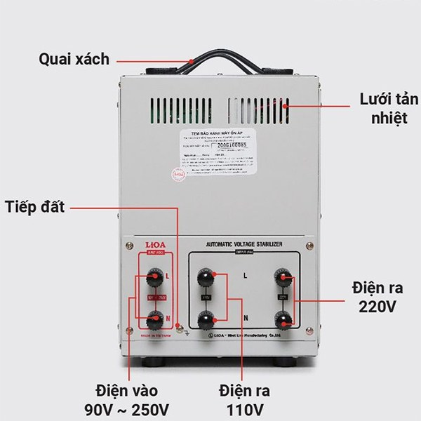 Cách lắp đặt ổn áp LiOA 10KVA dải 90