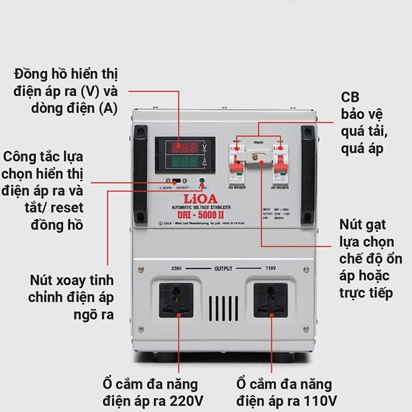 Hướng dẫn sử dụng ổn áp LiOA 5KVA dải 90